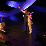 Brian and Bill on stage at the Shell Theatre in Fort Saskatchewan, Alberta.